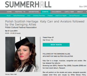 Polish Scottish Heritage: Katy Carr and Aviators 21st June 2014